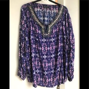 Sz M Jones New York purple batik beaded caftan